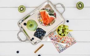 Картинка apple, арбуз, киви, виноград, фрукты, Wood, kiwi, watermelon, blueberries, Vitamin
