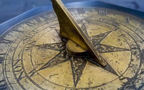 Картинка старинные, солнечные часы, медь