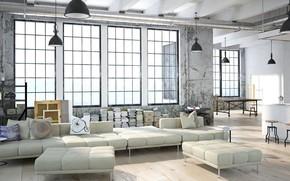 Картинка дизайн, стиль, интерьер, кухня, гостиная, лофт