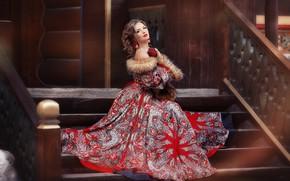 Картинка взгляд, девушка, поза, стиль, модель, платье, лестница, красивая, Anastasia Grosheva