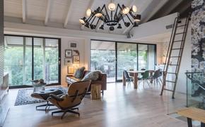 Картинка интерьер, кухня, лестница, гостиная, столовая