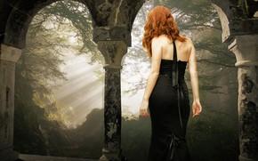Обои лес, девушка, лучи, свет, ветки, природа, поза, туман, стиль, замок, настроение, готика, спина, обработка, утро, ...