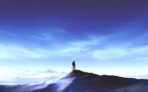 Картинка небо, снег, горы, вершина, мужчина