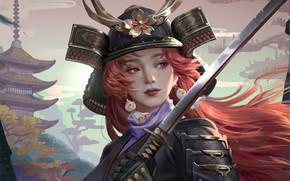 Картинка лицо, катана, доспехи, серьги, Япония, самурай, шлем, пагода, рыжие волосы, красные глаза, samurai, девушка-воин, by …