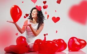 Картинка взгляд, девушка, шарики, поза, улыбка, романтика, сердце
