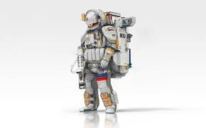 Картинка Минимализм, Астронавт, Космонавт, Россия, Space, Art, Military, Minimalism, Soldier, Экипировка, Science Fiction, Astronaut, Spaceman, Futuristic, …