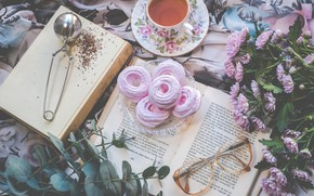 Картинка цветы, чай, книги, зефир
