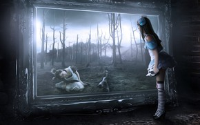 Картинка girl, fantasy, Alice in Wonderland, trees, gothic, digital art, artwork, fantasy art, mirror, spooky, fantasy …