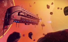 Картинка space, fantasy, science fiction, sci-fi, planet, digital art, artwork, fantasy art, Spaceship, futuristic, asteroids