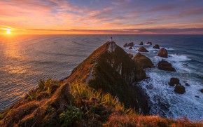 Картинка дорога, море, волны, небо, солнце, облака, лучи, камни, скалы, рассвет, берег, растительность, вид, маяк, утро, ...