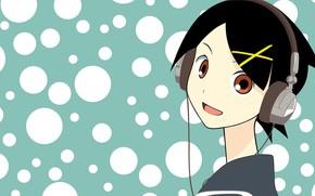 Картинка наушники, девочка, Sayonara Zetsubou Sensei, Прощай безрадостный сенсей, фон в горошек
