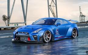 Обои Синий, Машина, Nissan, GT-R, Рендеринг, Nissan GT-R, Transport & Vehicles, Zoki Nanco, by Zoki Nanco, ...