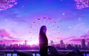 Картинка девушка, закат, город, колесо обозрения, байк, by RicoDZ
