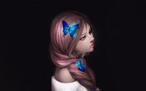 Картинка Girl, Art, Style, Background, Minimalism, Characters, Butterfly
