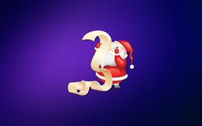 Картинка Минимализм, Рождество, Фон, Новый год, Праздник, Санта Клаус, Арт, Christmas, Art, Настроение, New Year, Background, …