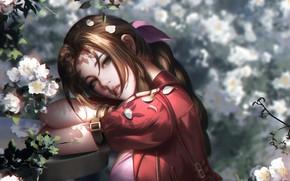 Картинка лицо, лепестки, рыжая, Final Fantasy, красное платье, Финальная Фантазия, цветение весной, свет и тень, Aerith …