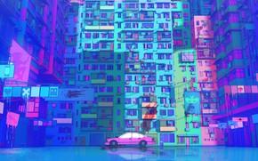 Картинка Рисунок, Будущее, Машина, Стиль, Здание, Car, Арт, Art, Illustration, Транспорт, Architecture, Cyberpunk, Nick Sullo, by …