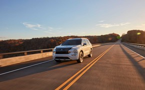 Картинка мост, шоссе, закат солнца, SUV, экстерьер, Mitsubishi Outlander, 2022