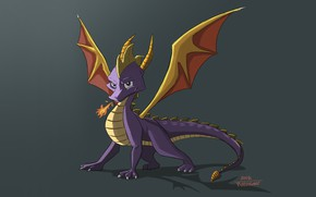 Картинка Минимализм, Дракон, Игра, Fantasy, Арт, Creatures, Game Art, Spyro, Spyro the Dragon, Ana Baturone, Спайро, …