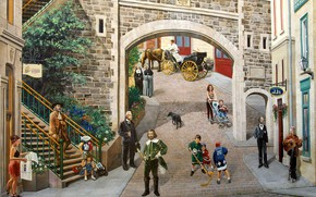 Картинка Канада, Квебек, Place Royale, настенная роспись