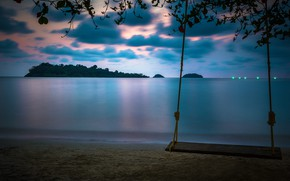Картинка море, небо, облака, пейзаж, ветки, природа, качели, берег, вечер, Таиланд