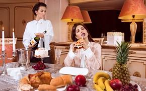 Картинка стол, девушки, еда, завтрак, ланч