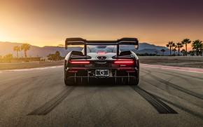Картинка закат, McLaren, суперкар, вид сзади, 2018, Senna
