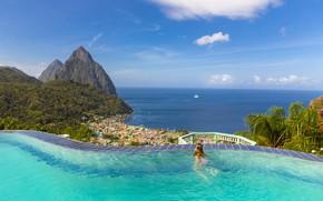Картинка море, девушка, отдых, гора, бассейн, Карибы, Сент-Люсия
