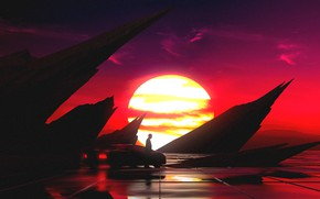Картинка Закат, Солнце, Авто, Музыка, Человек, Машина, Стиль, Силуэт, Style, Illustration, 80's, Synth, Retrowave, Synthwave, New …