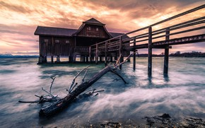 Картинка Sunset, long exposure, Ammersee, Boathouse