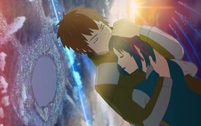 Картинка девушка, романтика, Закат, аниме, арт, парень, двое, Kimi no Na wa