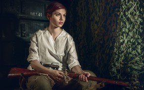 Картинка девушка, girl, винтовка, rifle, Сергей Рехов