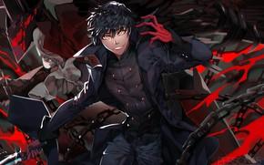 Картинка красный, улыбка, чёрный, игра, аниме, арт, нож, кинжал, парень, персона, Persona 5