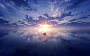 Картинка небо, вода, солнце, закат, лебедь