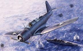 Картинка США, US Navy, Пикирующий, Vindicator, SB2U-3, Палубный бомбардировщик