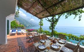 Картинка стол, вилла, рай, балкон, италия, italy, villa, paradise, table, balcony, campania, побережье амальфи, amalfi coast