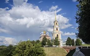 Картинка лето, небо, облака, церковь, храм, архитектура