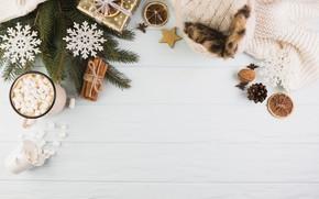 Картинка снежинки, подарок, шапка, шарф, cup, декор, пряности, горячий шоколад, marshmallows