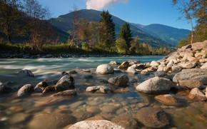 Картинка горы, берег, валуны, дымка, холмы, осень, лес, река, свет, Австрия, деревья, дно, булыжники, водоем, голубое …
