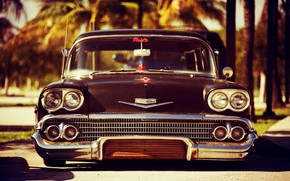 Картинка Chevrolet, Old, Vintage, Custom, Wagon, Low, Nomad, Chevrolet Bel Air Impala, 1958 Year, Black primer