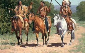 Обои Art, Horse, Western, Paintings, American indian