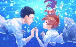 Картинка любовь, романтика, пара, Аниме, под водой, 2016, Koe no Katachi, A Silent Voice, Форма Голоса
