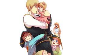 Картинка дети, романтика, аниме, семья, арт, парень, папа, жена, GinTama