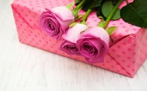 Картинка подарок, розы, поздравление