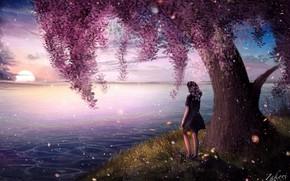 Картинка девушка, природа, река, дерево, цветение