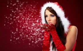 Картинка зима, взгляд, девушка, снежинки, лицо, макияж, Новый год, перчатки, мех