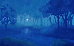 Картинка Linux, Night, Background, Fedora 34