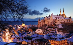 Картинка озеро, замок, здания, дома, вечер, Швейцария, Switzerland, Невшательское озеро, Neuchâtel, Lake Neuchâtel, Neuchâtel Castle, Невшатель, …