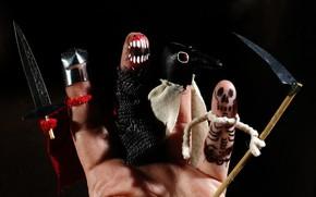 Картинка смерть, оружие, страх, праздник, рука, пасть, скелет, кинжал, коса, ужас, пальцы, черный фон, хэллоуин, ладонь, …