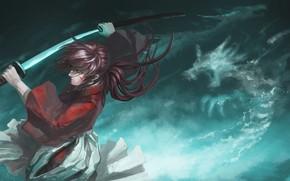 Картинка взгляд, меч, аниме, арт, самурай, парень, Rurouni Kenshin